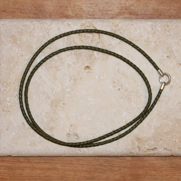 Pfeifenband oliv mit Sterlingsilber
